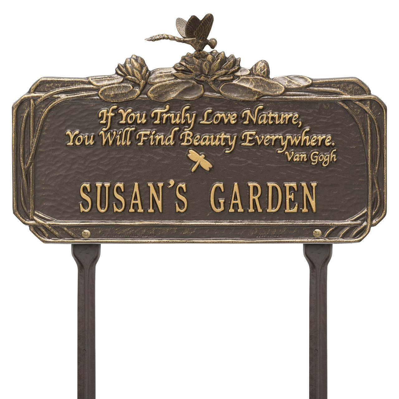 Whitehall Customized Aluminum Dragonfly Garden Plaque with Quote 16.5'' W x 8.5'' H (1 Line)