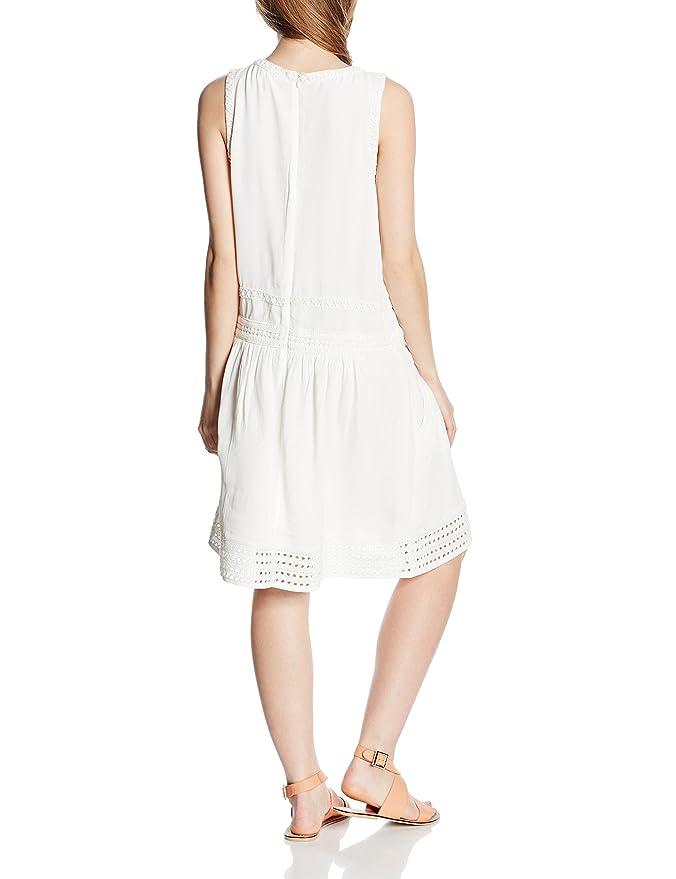 Cortefiel VESTIDO DETALLES BORDADOS - Vestido para mujer, color blanco, talla L: Amazon.es: Ropa y accesorios