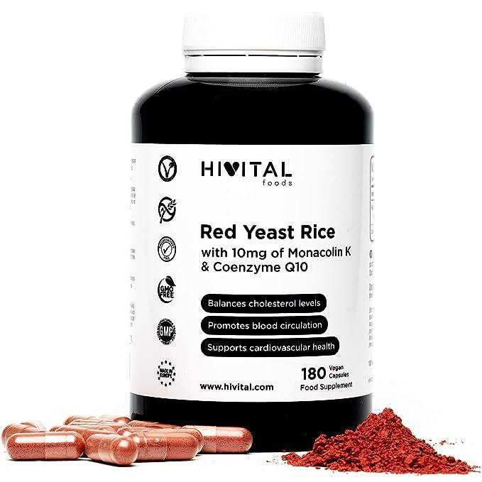 Levadura de Arroz Rojo con 10 mg de Monacolina K y 5 mg de Coenzima Q10 | 180 cápsulas vegetales | Suministro para 6 meses | Regula los niveles de ...
