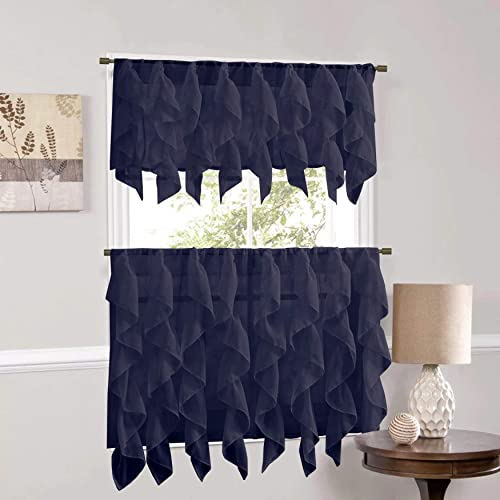 Sweet Home Collection Veritcal Kitchen Curtain Sheer Cascading Ruffle Waterfall Window Treatment-Choice of Valance, 24 or 36 Teir, and Kit, Navy