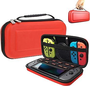 Oihxse Funda para Nintendo Switch, Estuche Portátil Dura Proteger Consola Nintendo Switch, Juegos, Joy-con y Carcasa Ajustable Transporte 10 Cartuchos de Juegos (Rojo): Amazon.es: Electrónica