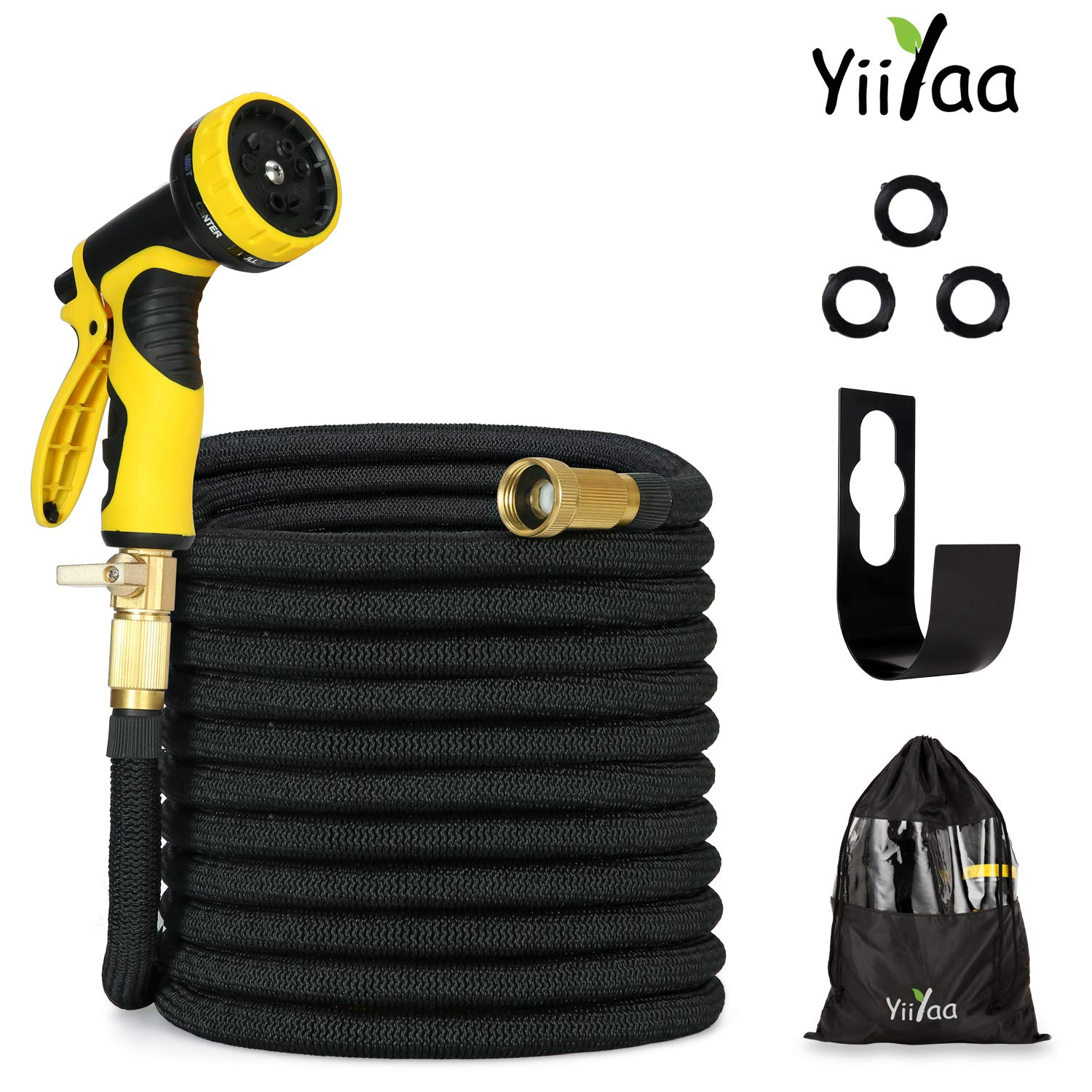 2018 Expandable Garden Hose 75ft Strongest Expandable Water hose 100% No-Rust & Leak,3/4 Solid Brass Fitting,Extra Strength Fabric and Double Latex Core,Flexible Water Hose with 9-Way Spray Nozzle