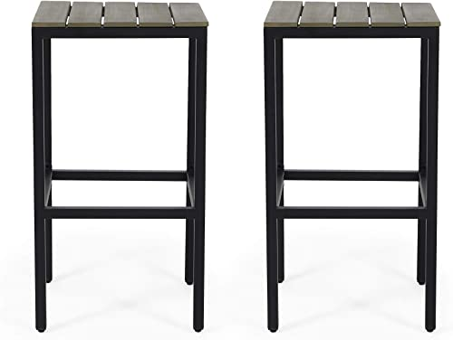 Christopher Knight Home 313203 Frieda Outdoor Modern Industrial Acacia Wood Bar Stools Set of 2