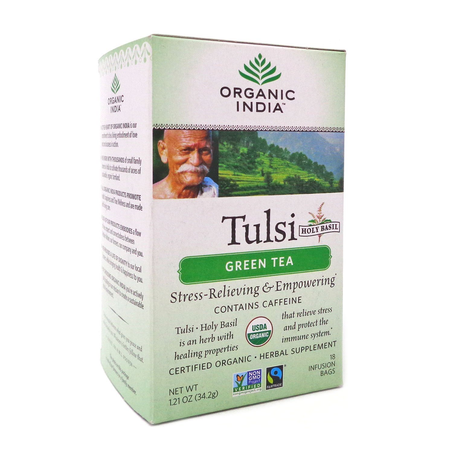 Organic India Tulsi Green Tea Classic, 18-Count Teabags (Pack of 6)