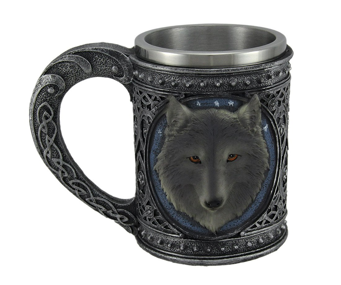 17461cf8c4b Grey Wolf Head Metallic Tribal Celtic Pewter Finish Mug Stainless Steel  Lined LARGE 5.5