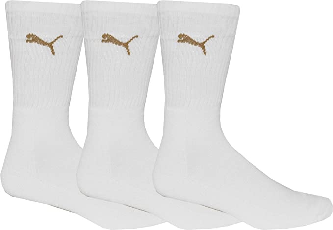All Sizes Puma Mens Logo Sports Crew 3 Pack Socks Black White Grey