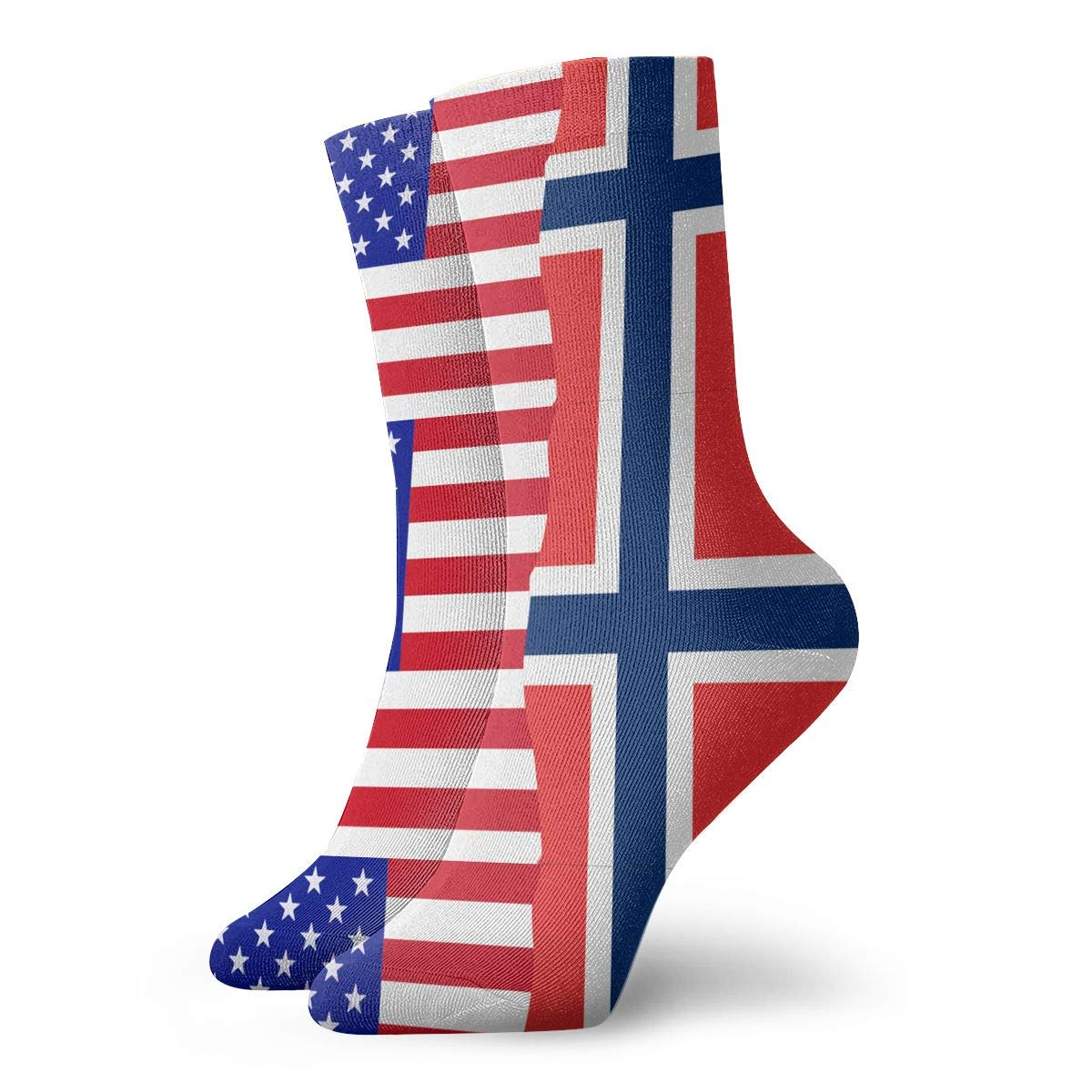 Women Men Half USA Half Norway Flag Athletic Crew Socks