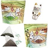 ねこ茶 ティーバッグ 釣り (深蒸し茶・ほうじ茶) 可愛い お茶 ギフト セット 誕生日 プレゼント 猫のフィギュア付き お歳暮