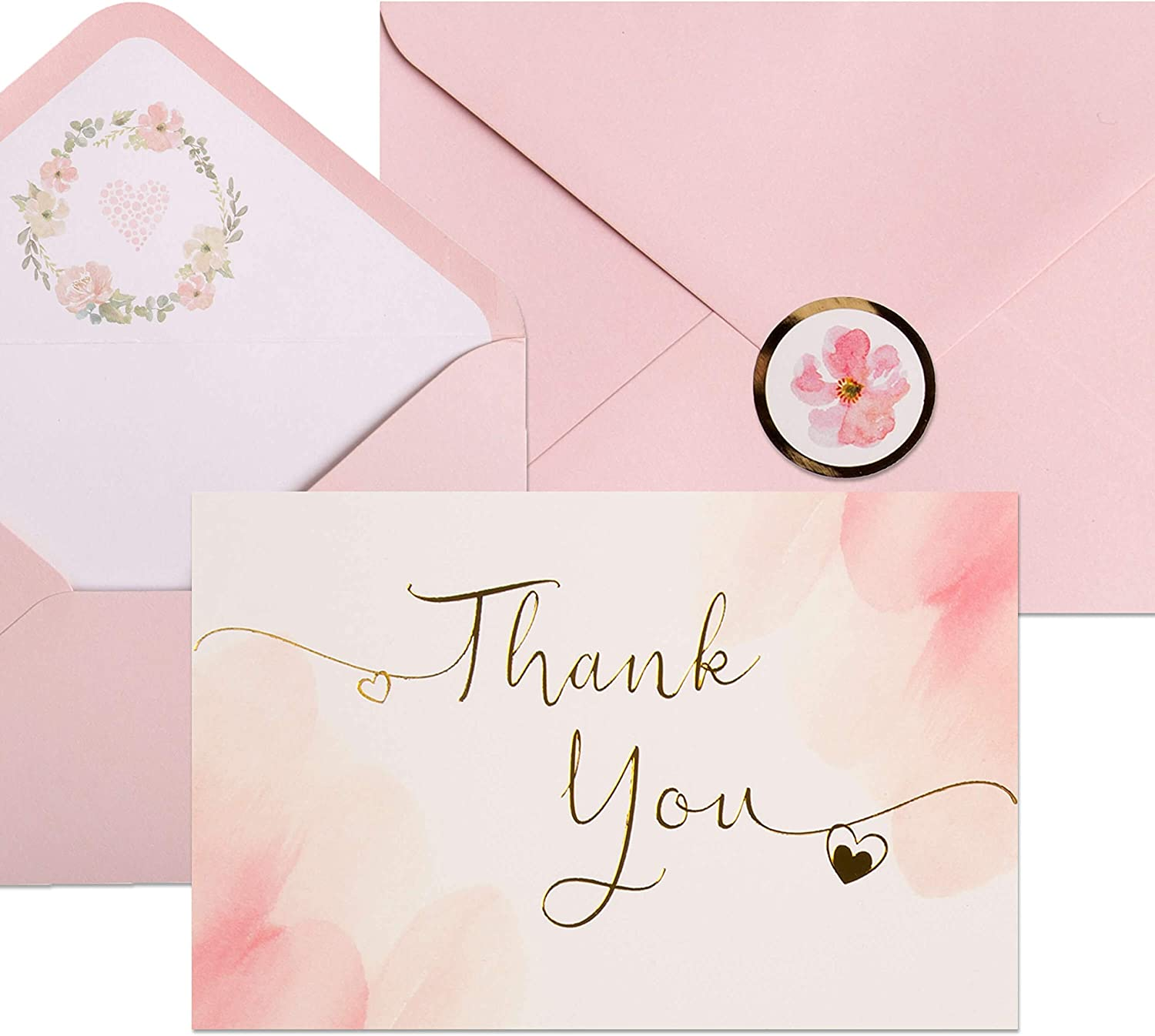 40 Blush Thank You Cards | Watercolor Pink and Gold Foil Thank You Notes Perfect for Girl's Baby Shower, Wedding & Bridal Showers | Blush Envelopes & Floral Foil Stickers Included.