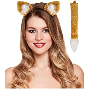 b07343fa Adults Fox Headband and Tail Set Kids Animal Props Fancy Dress Party Accessory  One Size