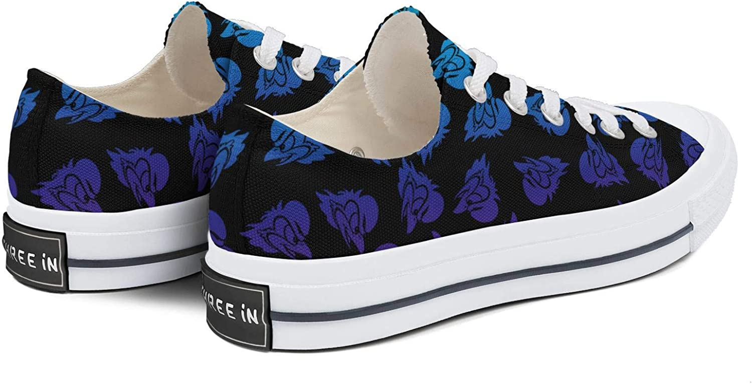 BOINN Womens Low Top Lace Up Skate Canvas Shoe Non-Slip Cool Running Go Easy Walking Sneakers