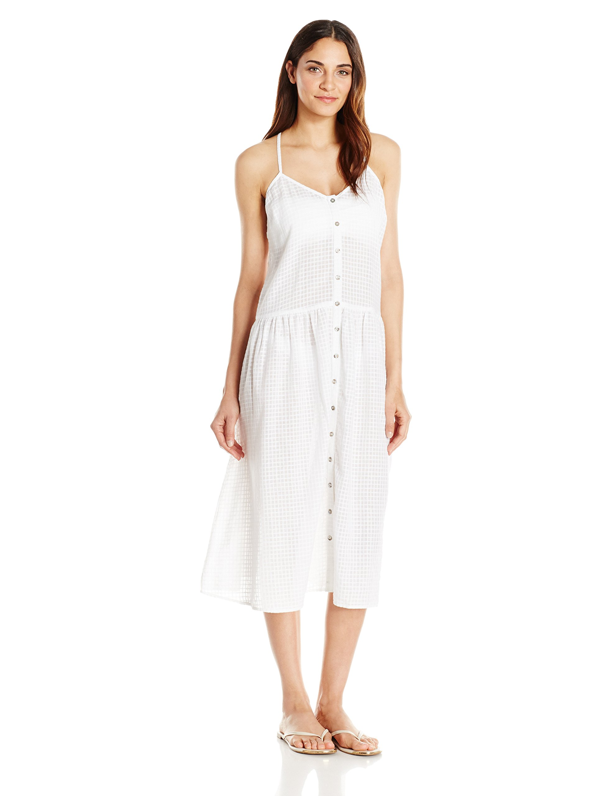 Mara Hoffman Women's Checkered Gauze Drop Waist Placket Midi Dress Cover up, White, M