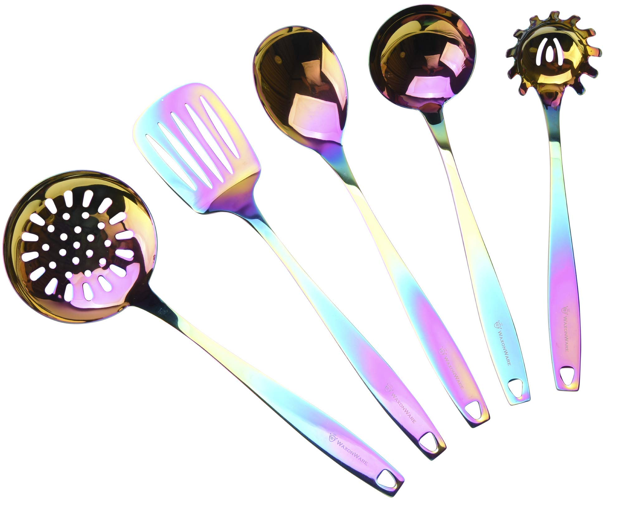 WaxonWare Stainless Steel Kitchen Tools (5-Piece Set) Complete Utensil Bundle | Spaghetti Server, Spoon, Skimmer, Ladle, Slotted Turner | Rainbow PVD Coated