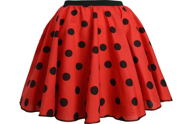 Girls Rock and ROLL Polka DOT Skirt & Scarf Fancy Dance Party Dress Costume Black White Polka Dot)