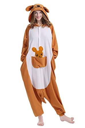 Machic Unisex Adult Pajamas - Plush One Piece Cosplay Kangaroo Animal Costume