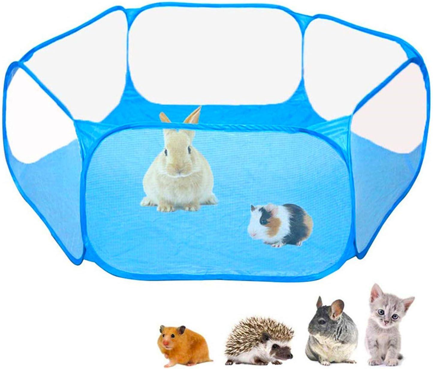 Macllar Corralito Plegable para Mascotas Interior al Aire Libre, Jaula de corralito de Animales Conejillo de Indias, hámster, Conejo, Rata, cerditos Correr portátil (Azul)