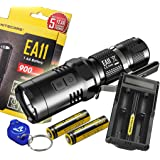 Nitecore EA11 900 Lumens Mini Cree XM-L2 U2 LED Flashlight with Two Genuine Nitecore IMR 14500 Rechargeable Batteries, Nitecore UM20 Digital USB charger, Lumen Tactical Keychain Light