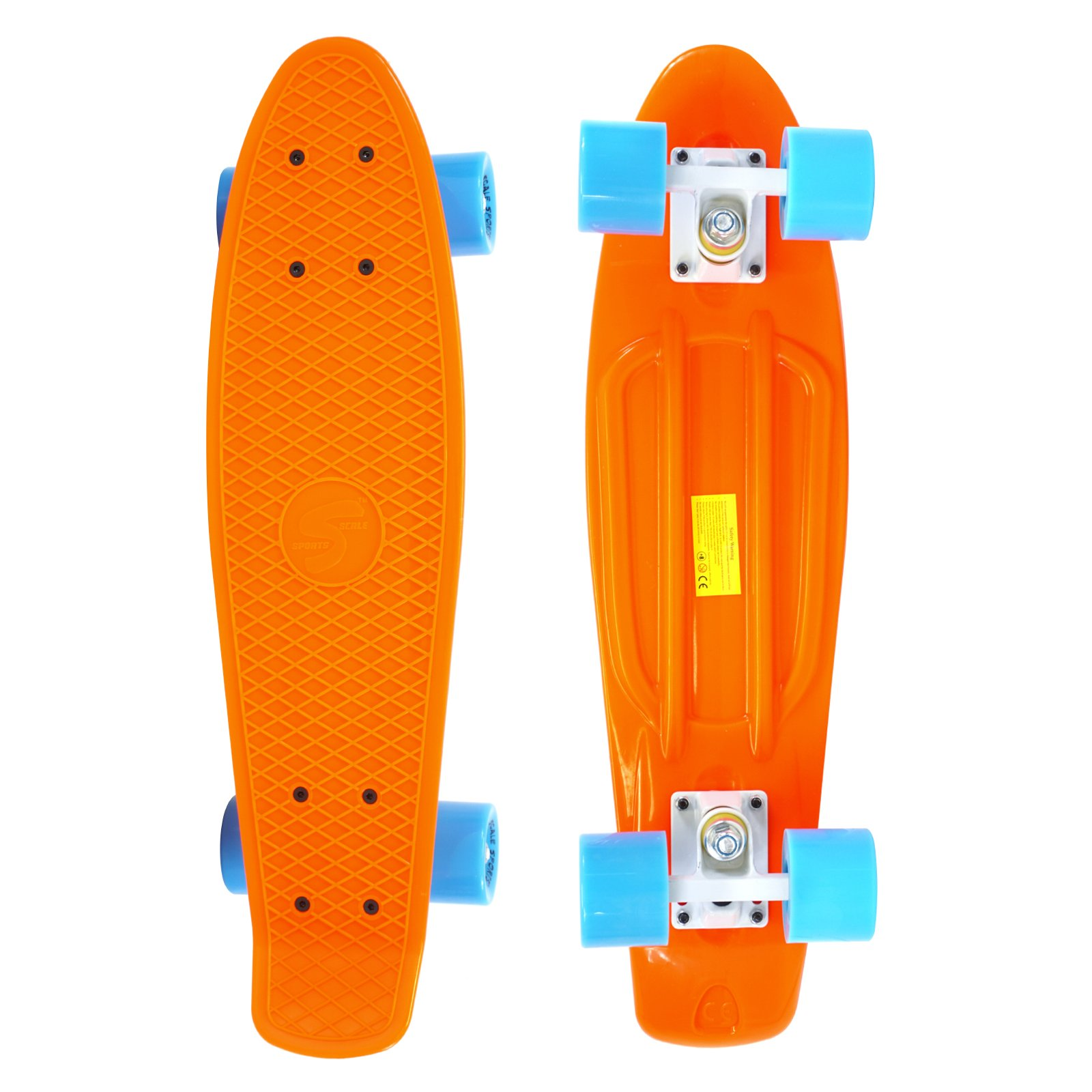 Scale Sports 22'' Skateboard Complete Pastel Street Retro Cruiser Classic Plastic Deck Orange