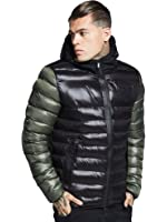 9bce930f2 SIK SILK Men's Everest Fur Collar Hooded Bomber Jacket Black L ...