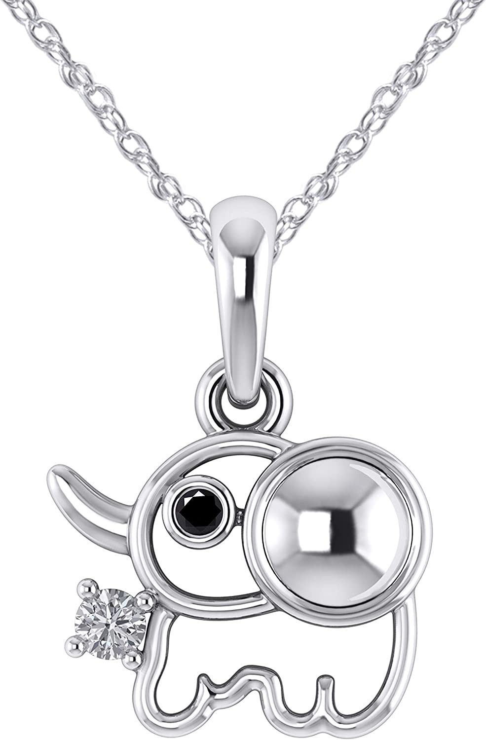 Pretty Jewels 0.06 Ct Black /& White Diamond Good-Luck Charm Elephant Pendant in 14K White Gold Fn 925 Sterling Silver