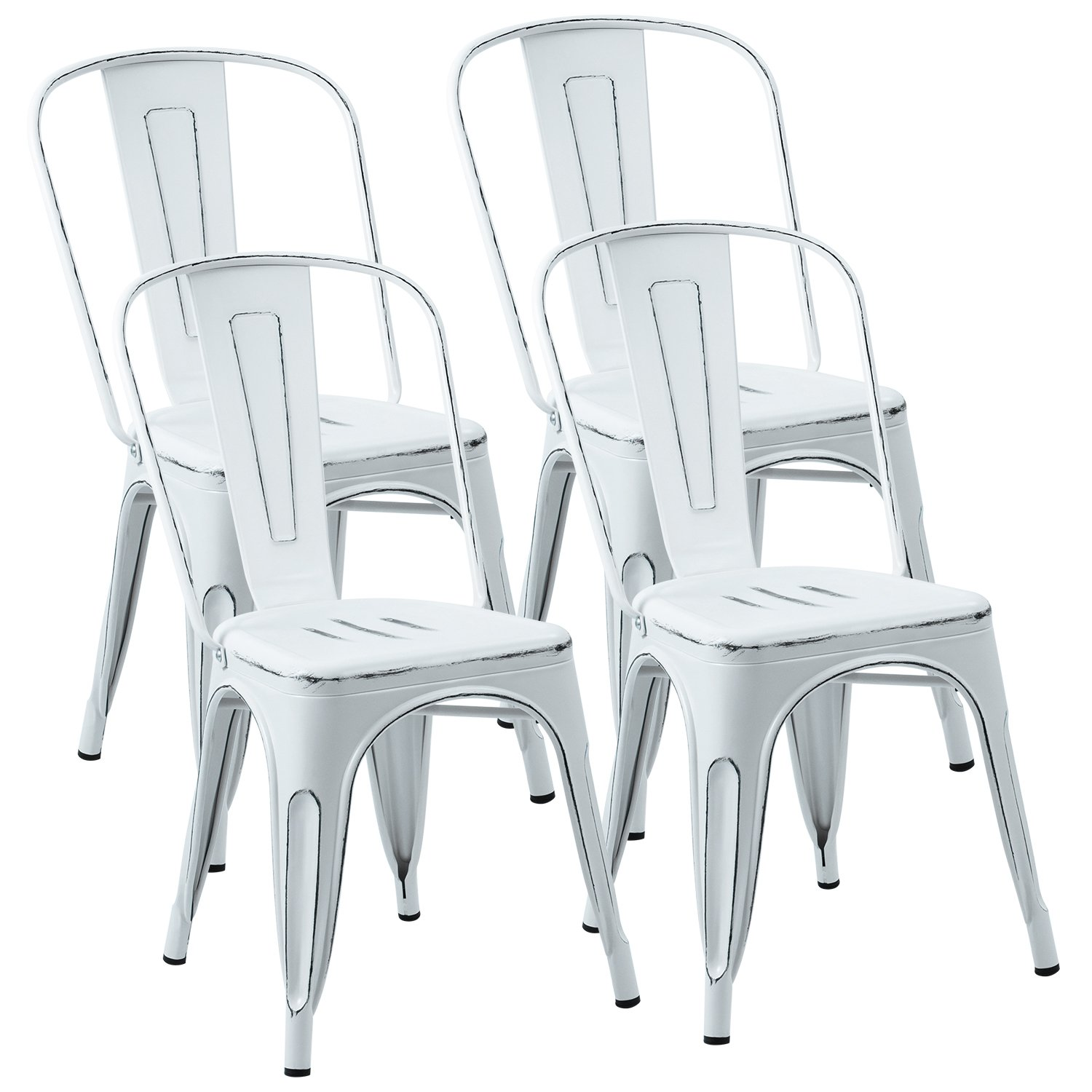 JUMMICO Metal Dining Chair Stackable Indoor-Outdoor Industrial Vintage Chairs Bistro Kitchen Side Chairs with Back Set of 4 Distressed White