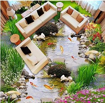 Dalxsh Personalizado Cualquier Tamaño Jardín Agua Corriente Peces Sala De Estar Dormitorio Baño 3D Estéreo Autoadhesivo Piso Mural Pinturas Papel Pintado-200X140Cm: Amazon.es: Bricolaje y herramientas