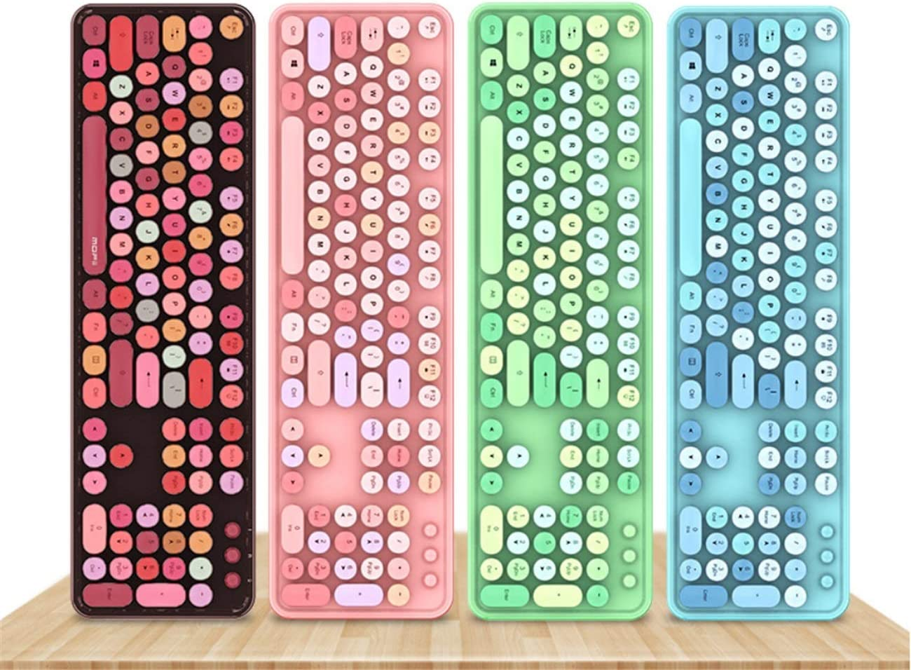 104 Touches Clavier sans Fil et Souris for Ordinateur de Bureau PC Portable for Windows/Windows 7 / Windows 8 / win10 (Color : Green) Cyan mix
