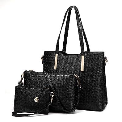 f39b63f2ffd1e Miss Lulu Women Fashion Handbag Shoulder Bag Purse Faux Leather Tote 3  Pieces (1766 Black