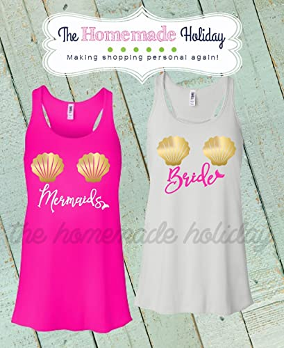 fb8b847c2d07 Amazon.com: Mermaid Sea Shell Bachelorette Tank tops- bridal party shirts- Mermaid  tank tops: Handmade