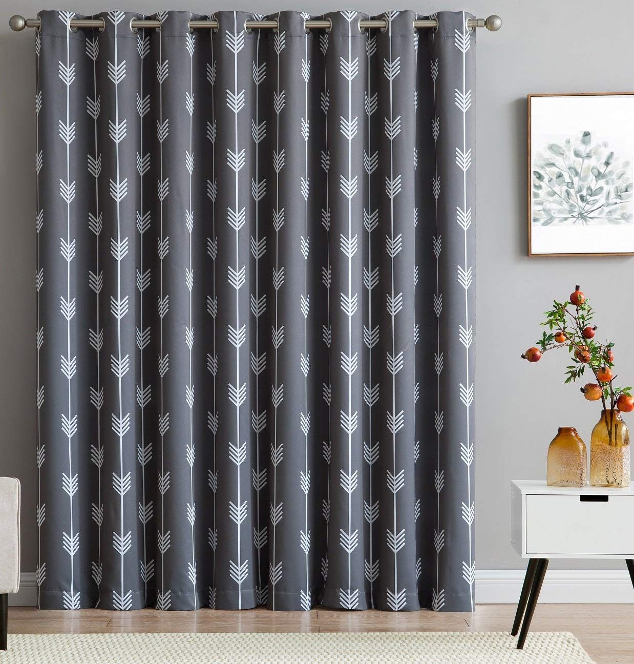 84 inch Long Set of 2 HLC.ME Arrow Printed Blackout Room Darkening Thermal Grommet Window Curtain Drape Panels for Bedroom Grey
