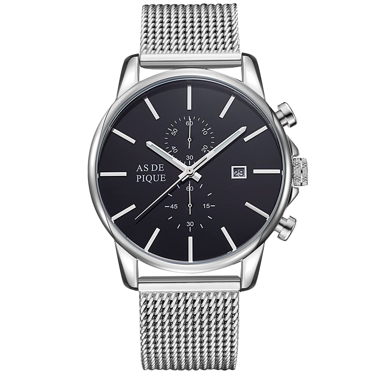 AS DE PIQUE Chrono Armbanduhr Mesh 50m wasserdicht silber