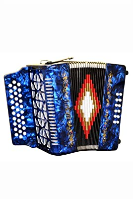 Directly Cheap Full Size 31 Button Blue Diatonic Accordion