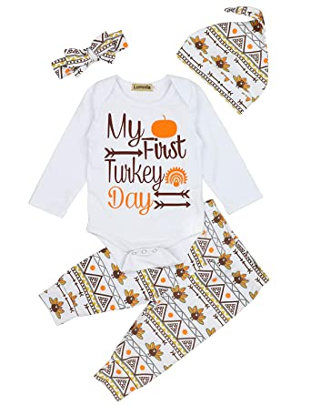 ff442946137a1 Baby Thanksgiving Outfit Newborn Boy Girl Letter Print Romper Turkey Print  Pant with Hat Clothes Set