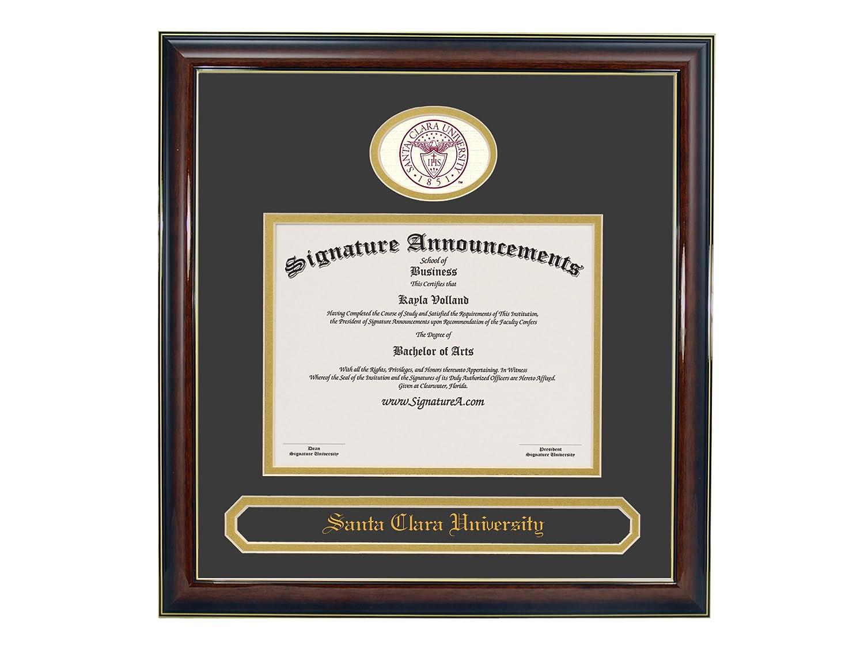 Sculpted Foil Seal /& Name Graduation Diploma Frame 16 x 16 Gold Accent Gloss Mahogany Signature Announcements Santa-Clara-University Undergraduate