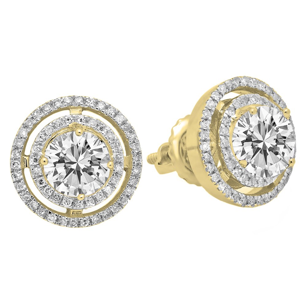 Dazzlingrock Collection 10K Each 5 MM Round Lab Created White Sapphire & White Diamond Ladies Halo Stud Earrings, Yellow Gold