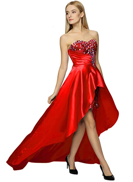 Azbro Mujer Sin Tirantes Alto Bajo lentejuelas Prom noche largo Maxi vestido de dama - Rojo