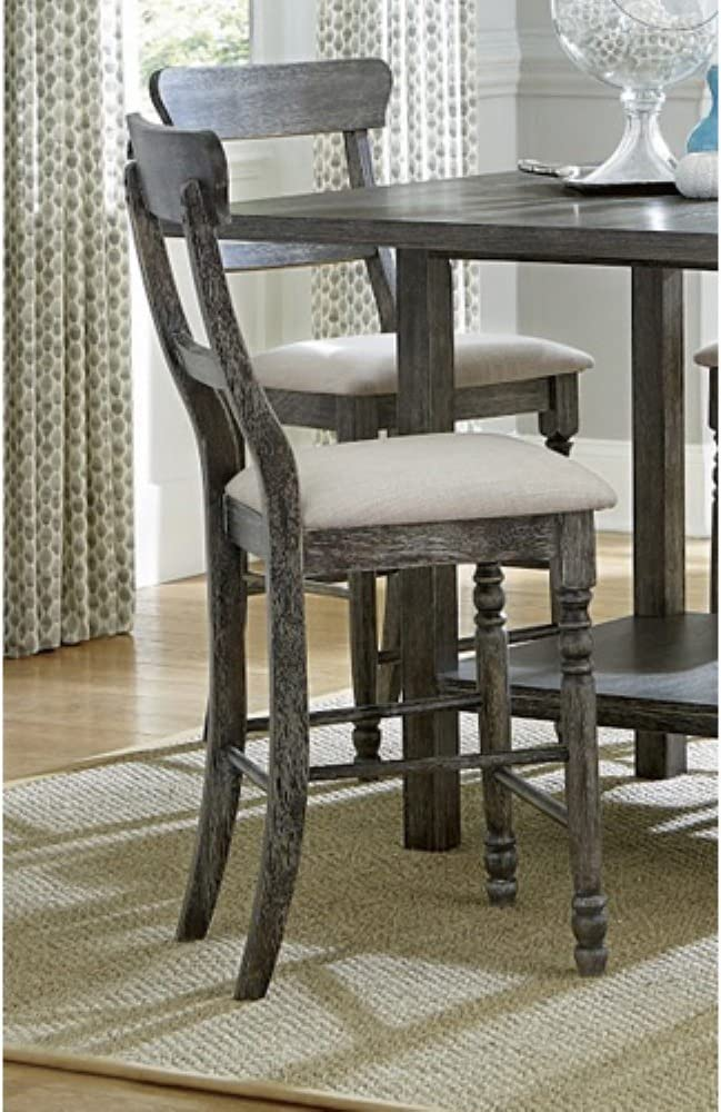 Progressive Furniture Muse Ladder-back Counter Chair (2/Ctn), Upholstered, Weathered Pepper