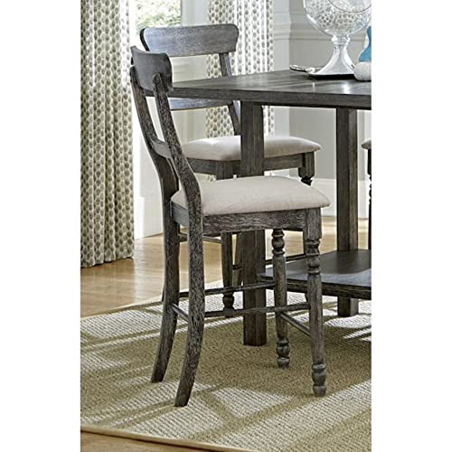 Progressive Furniture Muse Ladder-back Counter Chair 2 Ctn , Upholstered, Weathered Pepper