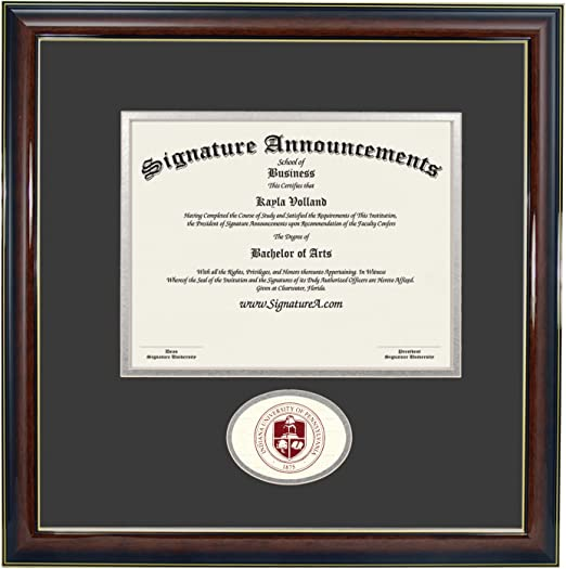 Sculpted Foil Seal Graduation Diploma Frame 16 x 16 Gloss Mahogany with Gold Accent Signature Announcements Indiana University of Pennsylvania Undergraduate