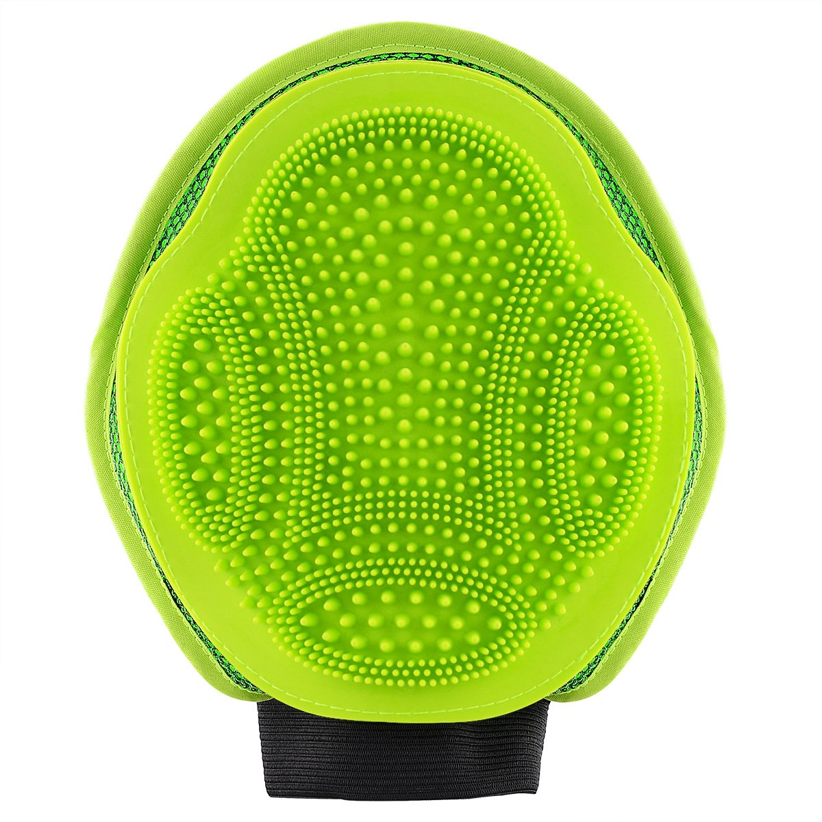 2-in-1 Pet Glove: Grooming Tool + Furniture Pet Hair Remover Mitt - Dual Sided Rubber Tips Soft Deshedding Grooming Massage Glove Brush for Big Small Long Short Hair Dog Cat,Green MOSTY