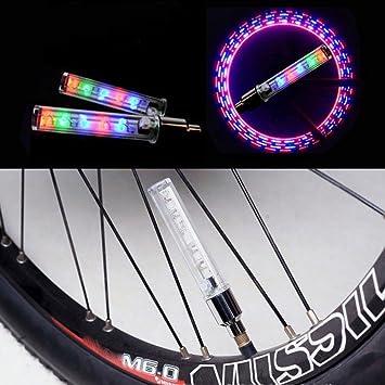 2 x New Bike Bicycle Wheel Tire Valve Cap Spoke Neon 5 LED Lights Lamp 7 Modes