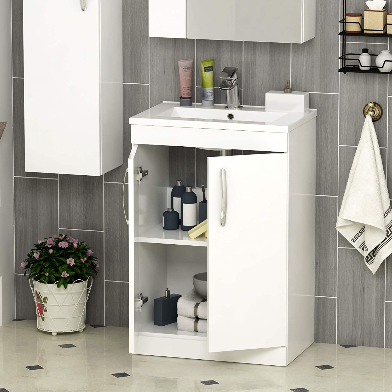 Gloss White 1450mm Wall Hung Tall Boy Unit 1 Door Bathroom Furniture Storage Cabinet
