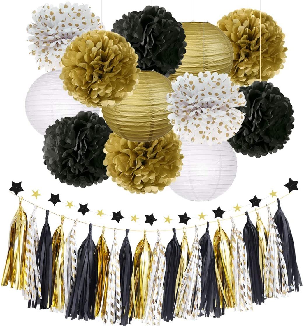 Birthday Party Decorations Tissue Paper 10 Tassel Garland Football Party Decorations Fringe New Year/'s Eve Black and Gold Vandy