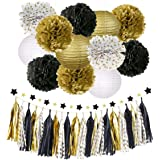 NICROLANDEE Black Gold Party Decorations Tissue Paper Pom Poms Flowers Hanging Paper Lanterns Star Garland Tassel 2020…