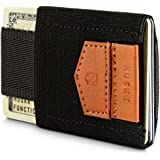 HUSKK Minimalist Slim Wallet - 10 Card Holders - Cash Coins or Keys - Black [ECSC-B]