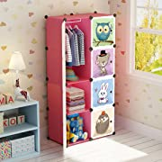 MAGINELS Portable Kid Organizers Storage Organizer Clothes Wardrobe Cube Closet MultiFuncation Bedroom Armoire Children Dresser Rack Forest Animal Pink 6 Cube &1 Hanging Section