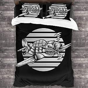 Li Da Sen 3pcs Duvet Cover Set with Zipper Shark Hurricane Ariplane + 2 Pillow Shams