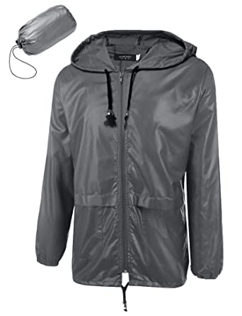 c1ae0087b7b Donet Men's Packable Hooded Rain Jacket Lightweight Waterproof Raincoat  with Hood