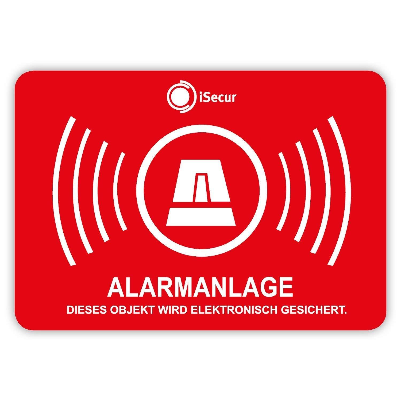 'Alarm', 5 unidades, iSecur, alarma de seguridad, 50 x 35 mm, Art. Hin_047_5er_auser, nota sobre el sistema de alarma, pegatina exterior para ventanas, casa, coche, camió n, maquinaria de construcció n. camión maquinaria de construcción.