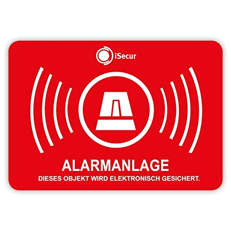 5 Stück Aufkleber Alarm Isecur Alarmgesichert 50x35mm Art Hin0475eraußen Hinweis Auf Alarmanlage Außenklebend Für Fensterscheiben Haus